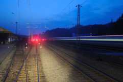 Chinese electric train cut across railway station Royalty Free Stock Photo