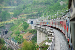 Chinese electric train cut across tunnel Royalty Free Stock Photography