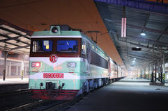 Chinese electric train at night royalty free stock photos