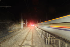 Chinese electric train at night Stock Photography