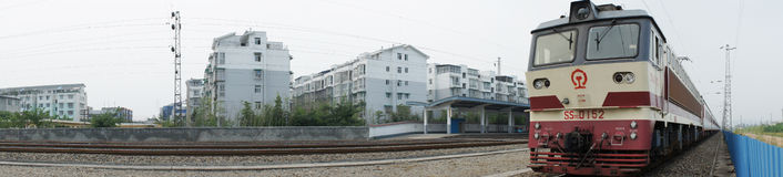 Chinese electric train panorama Stock Photos