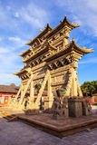 Chinese element- carved stone torii. Royalty Free Stock Image
