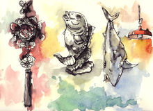 Chinese elements drawing and water color painting. Chinese amulet carp fish shark fin and market red lamp. elements from Hong Kong, china drawn with fountain pen Royalty Free Stock Images