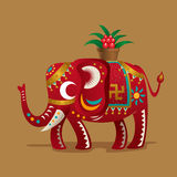 Chinese elephant with a plant of Evergreen. Chinese New Year Festival`s lucky symbol:A elephant with a plant of Evergreen. As spring comes, all the things get a Royalty Free Stock Images