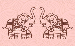 Chinese elephants. Elephants with decorated background - Oriental style Stock Photo