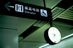 Chinese elevator indication. It is a Chinese elevator indication and a malfunction clock Royalty Free Stock Images