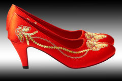 Chinese embroidered wedding shoes. Beautiful chinese embroidered wedding shoes Stock Photography