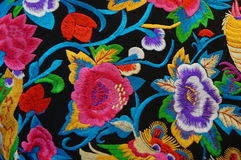 Chinese Embroidery Craft. S, a blossoming of flowers, very realistic and beautiful Royalty Free Stock Images