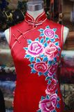 Chinese embroidery on silk Cheongsam Stock Photos
