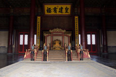 Chinese Emperor's Throne. The Chinese emperor's throne in Forbidden City in Peking Royalty Free Stock Photo