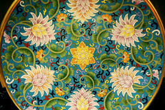 Chinese enamel handycraft with flower texture Stock Photography