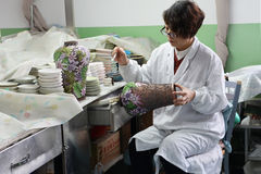 Chinese enamel handycraft  worker in factory Royalty Free Stock Images