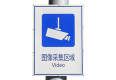 Chinese English Video Surveillance Street Sign Royalty Free Stock Images
