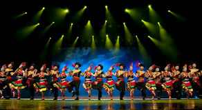 Chinese ethnic dance of Yi nationality. Chinese Yi ethnic dance performed by song and dance troupe of Liangshan Yi autonomous prefecture at JIAOZI theater.Sep 26 Stock Photos