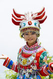 Chinese Ethnic Girl in Traditional Dress Stock Images