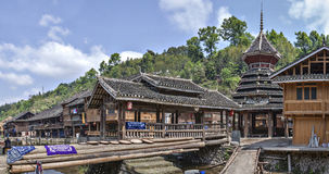 Chinese ethnic minority Dong village, covered bridge and drum to Stock Photo