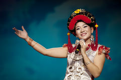Chinese ethnic singer of Yi nationality. CHENGDU - SEP 26: chinese Yi ethnic folk song performed by song and dance troupe of Liangshan Yi autonomous prefecture Stock Photography