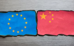 Chinese and european flag side by side Royalty Free Stock Photography