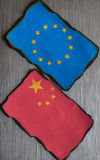 Chinese and european flags Royalty Free Stock Photography