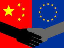 Chinese European handshake Royalty Free Stock Photos