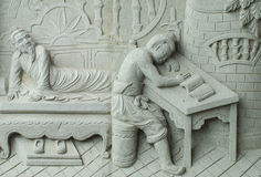 Chinese fable by stone carving. Chinese fable about 24 filial piety by stone carving on the wall stock photos