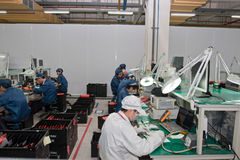 Chinese factory producing Laptop Computers Royalty Free Stock Photo