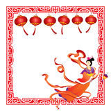 Chinese fairy flying with red lantern border. Illustration stock illustration