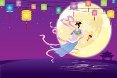 Chinese Fairy flying to the moon illustration. Chinese Fairy flying to the moon for celebrating the mid autumn festival royalty free illustration