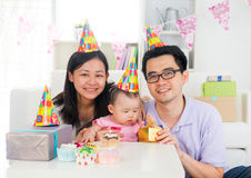 Chinese family celebrating baby birthday party ,full moon Stock Images