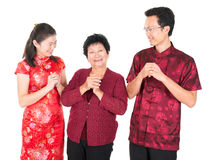 Chinese family greeting Royalty Free Stock Image