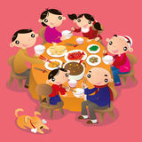 A Chinese family reunion dinner. Stock Photo