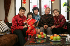 Chinese family reunion in the house Stock Photo