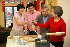 Chinese family reunion in the house Royalty Free Stock Photography