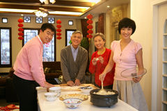 Chinese family reunion in the house Royalty Free Stock Photos