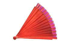 Chinese fan. Chinese red wooden fan on the white Royalty Free Stock Image