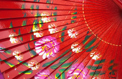 Chinese fan. Chinese red wooden fan on the white Royalty Free Stock Images