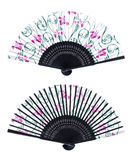 Chinese fan. Unfolded chinese fan isolated on white background. Front and back royalty free stock photography
