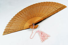 Chinese Fan. An Open Chinese Fan With Pink Tassle Stock Photo