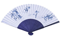 Chinese fan. Unfolded blue Chinese or Japanese fan Stock Images