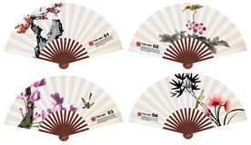 Chinese fan art nature elements Royalty Free Stock Image