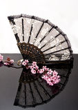Chinese fan on black shiny surface Royalty Free Stock Photo