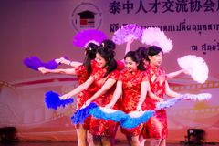 Chinese fan dance Stock Photos