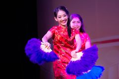 Chinese fan dance Royalty Free Stock Image