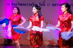 Chinese fan dance Stock Photography