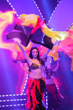 Chinese fan dance : fire Royalty Free Stock Photography