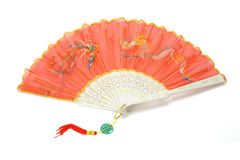 Chinese fan with dragon and peonix design Stock Photo