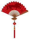 2014 Chinese Fan with Horse Illustration. 2014 Chinese New Year of the Horse on Red Chinese Paper Fan with Tassel Jade Beads and Sign with Good Fortune Text Royalty Free Illustration