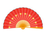 Chinese fan  illustration. Folding fan isolated on white background Stock Photography
