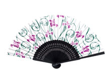 Chinese fan. Unfolded chinese fan isolated on white background. Front and back royalty free stock photo