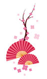Chinese fans. Illustration of two fans and a blossom tree Royalty Free Stock Photography